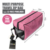 HOUZE - Multi Purpose Travel Zip Bag (Pink Linen) - HOUZE - The Homeware Superstore