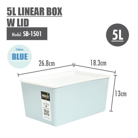HOUZE 5L Linear Box with Lid - Blue - HOUZE - The Homeware Superstore