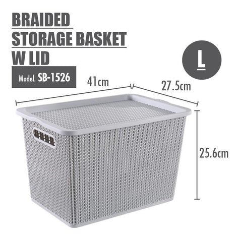 Storage Basket - Houze Braided Storage Basket With Lid (Large)