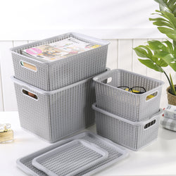 [SET OF 3] HOUZE Braided Storage Basket with Lid (Medium) - HOUZE - The Homeware Superstore