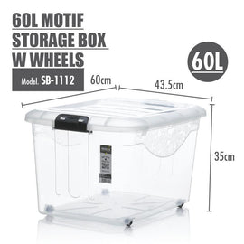 Storage Boxes - Houze 60L Motif Storage Box With Wheels