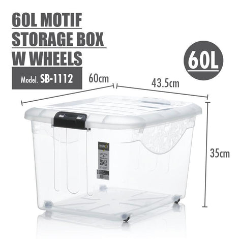 Storage Boxes - [SET OF 3] HOUZE 60L Motif Storage Box With Wheels