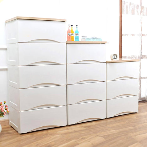Storage Cabinet - HOUZE 5 Tier Wooden Top Cabinet