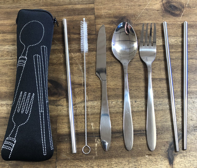 Red Roads Cutlery Pack - Knife-Fork-Spoon-Chopsticks-Straw+Cleaner
