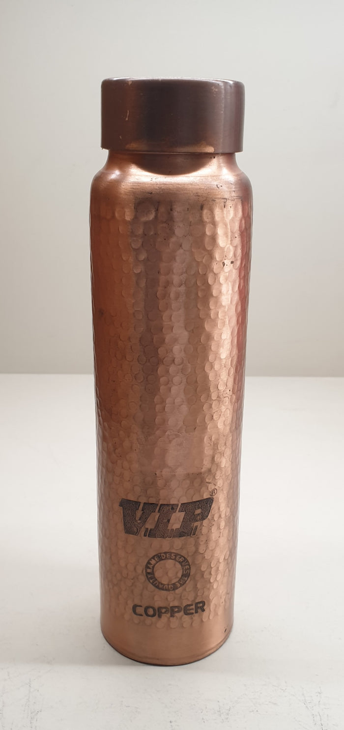 Copper Plain Hammered Water Bottle Small