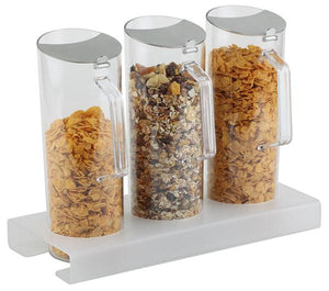 CEREAL BAR, 4 PCS SET WITH STAND HEIGHT 4CM: 1 STAND ACRYLIC FROSTED AND ASNTI-SLIP + 3 PITCHERS (1.5 LTR) WITH STAINLESS STEEL FLAP LID  38 X 17 X 4 H.CM