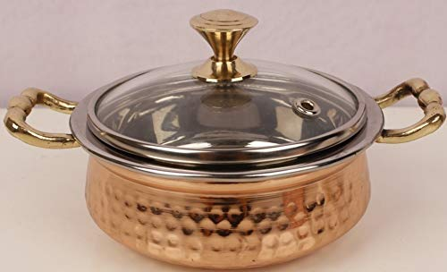 Copper Royal Handi (Casserole) with Glass Lid Small