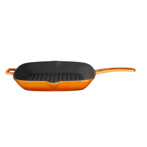 GRILL PAN 28*28 CM INTEGRAL W/METAL HANDLES - ORANGE