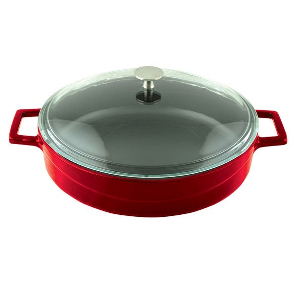 MULTI-PURPOSE CASSEROLES WITH GLASS LID - DIA.28 CM - RED