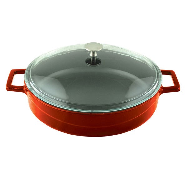 MULTI-PURPOSE CASSEROLES WITH GLASS LID - DIA.28 CM - ORANGE