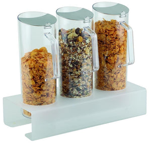 CEREAL BAR, 4 PCS SET WITH STAND HEIGHT 8CM: 1 STAND ACRYLIC FROSTED AND ASNTI-SLIP + 3 PITCHERS (1.5 LTR) WITH STAINLESS STEEL FLAP LID  38 X 17 X 8 H.CM