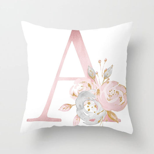 Pink Letter Printed Cushion Covers