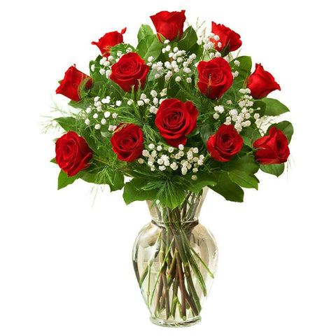 Bunch of Red Roses in Glass Vase