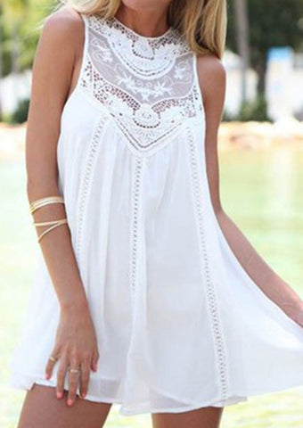 cfc168a44f2 Sexy Dress For Women Casual Loose Charming Sleeveless Lace Dress O Neck  Mini Dresses Sundress White