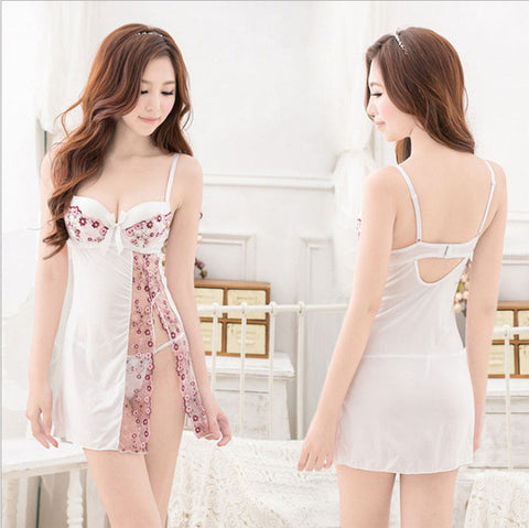 4c968f58a Women Sexy Lingerie Silk Sleepwear Lace Hallow Out Floral Night Dress  Padded Bra Nightgown - Be