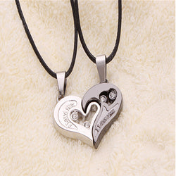 203f9e0065 2 Pcs Stylish His and Hers Heart Pendant Couples Love Necklaces - Be Your  Own Beautiful