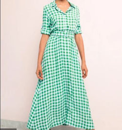 Long Sleeve Shirt Dress -  Gingham Mint - Size L