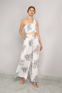Asymmetric Crop  | Wide Leg Pant