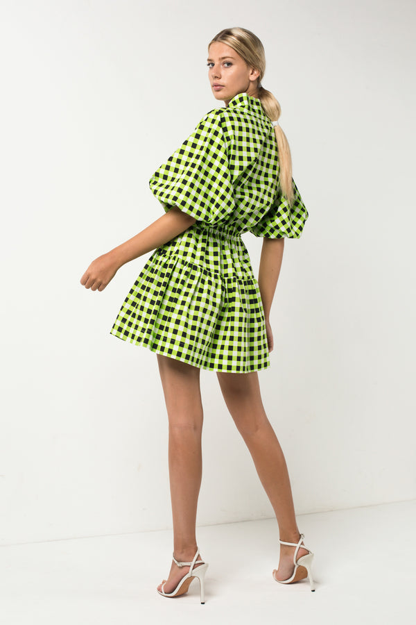 Checkmate Lime Mini Dress
