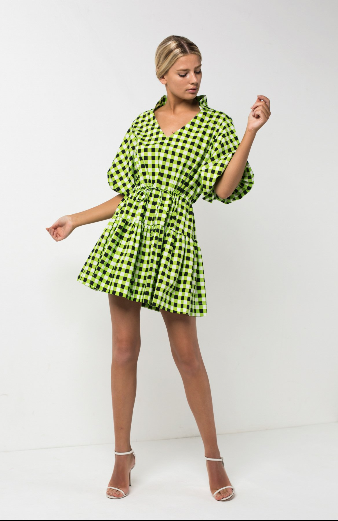 Checkmate Lime Mini Dress Size M