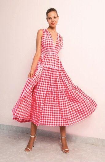 Tiered Maxi Dress Gingham Floss Size S