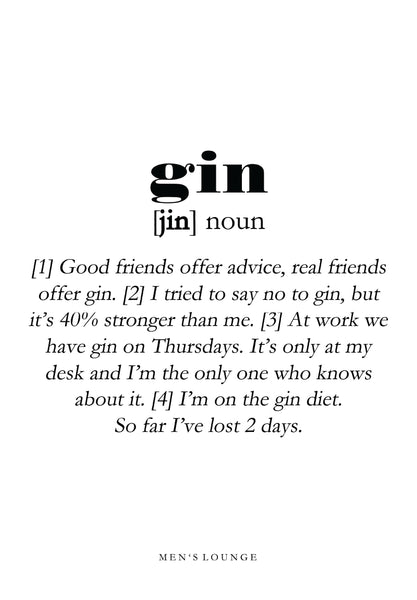 Gin definition - Men's Lounge