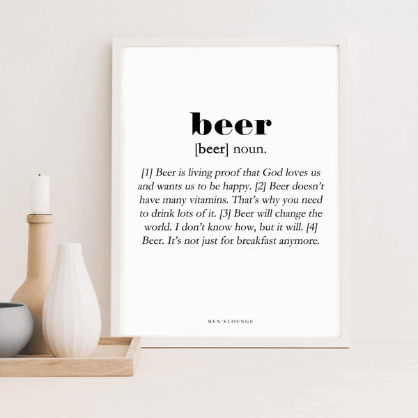 Beer definition poster from Men's Lounge