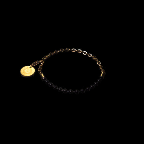 BALL/FLAT-O DUO CHAIN BRACELET [ JADE BLACK/YELLOW GOLD ]