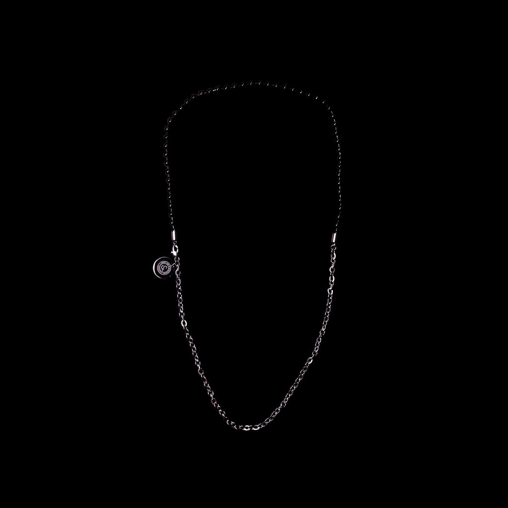 BALL/FLAT-O DUO CHAIN NECKLACE [ JADE BLACK/SILVER ]