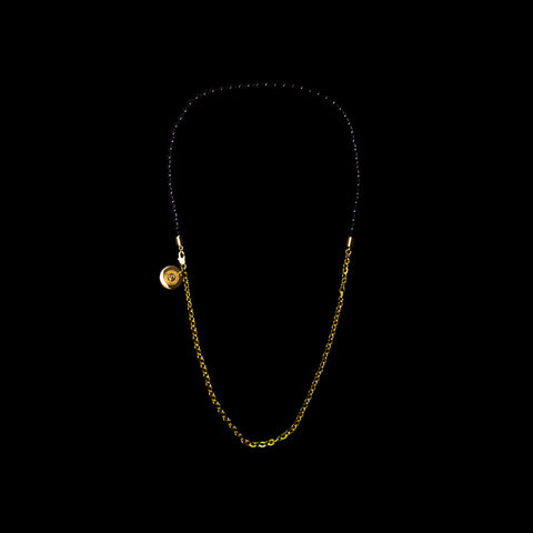 BALL/FLAT-O DUO CHAIN NECKLACE [ JADE BLACK/YELLOW GOLD ]