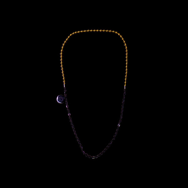 BALL/FLAT-O DUO CHAIN NECKLACE [ YELLOW GOLD/JADE BLACK ]