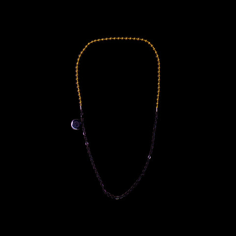 Ball/Flat-O Duo Chain Necklace [ 16K Yellow Gold/Jade Black ]