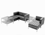 Flexi Modular Design Black Leather Sofa for Welcome Areas