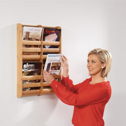 Bamboo Wall mounted Literature Dispenser in 3 Sizes
