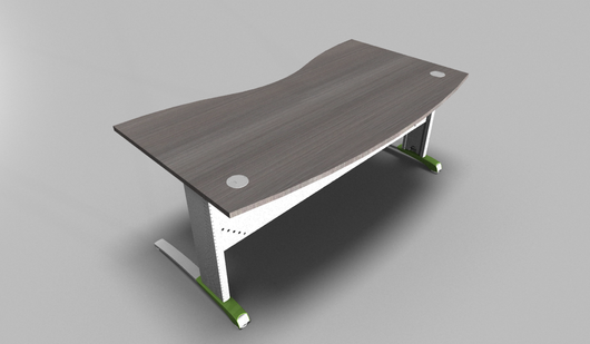 Couleur Double Wave Top Executive Desk with Metal Modesty Panel