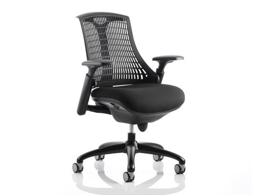... Flex Task Chair With Arms, Black Fabric Seat, White Or Black Frame And A