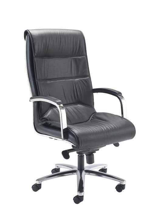 Midas High Back Executive Chair in Black Leather