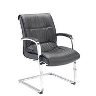 Midas Executive Visitors Chair in Black Leather