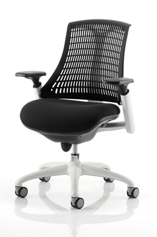 Flex Task Chair With Arms, Black Fabric Seat, White Or Black Frame And A  Flexible Back With 7 Colour Options