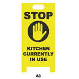 "Covid-19  ""A"" Board Floor Sign - Stop Kitchen currently in Use Black/Yellow"