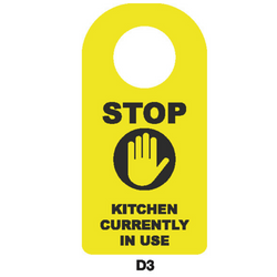 Covid-19 Door Sign Stop Kitchen currently in Use Black/Yellow