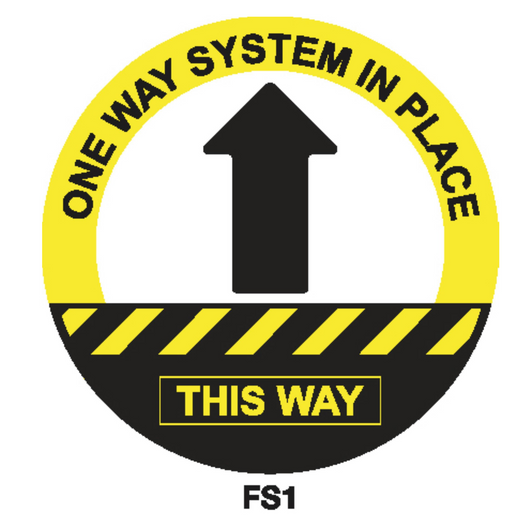 Covid-19 Floor Sign One Way System 300mm Black/Yellow