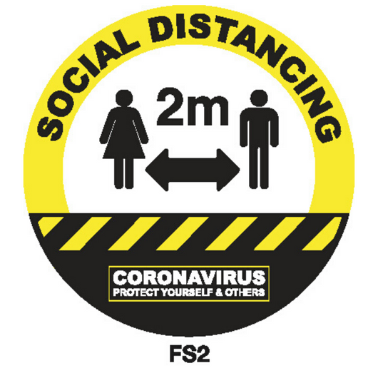 Covid-19 Floor Sign Social Distancing 300mm Black/Yellow
