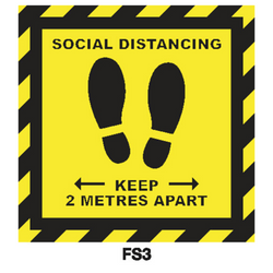 Covid-19 Floor Sign Social Distancing 300mm x 300mm Black/Yellow