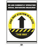 Covid-19 Sign - One Way System in Place A4 or A3 Black/Yellow
