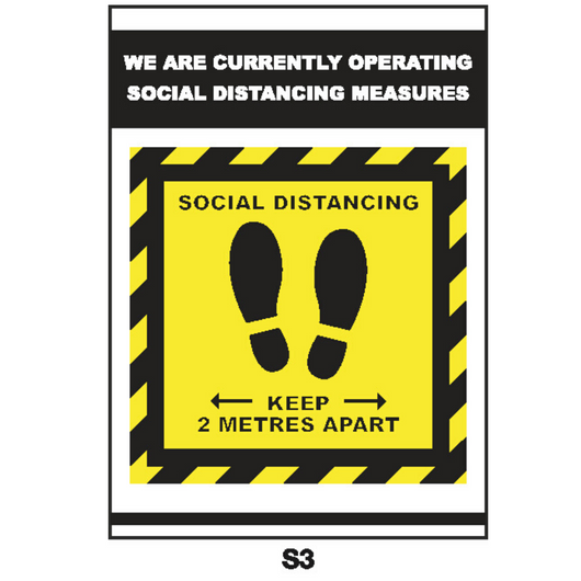 Covid-19 Sign - Social Distancing with Feet A4 or A3 Black/Yellow