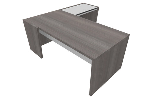 Select Straight Top Executive Desk with Glass Top Return