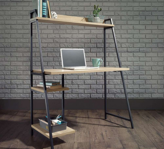 Industrial Style Bench Desk with Shelf