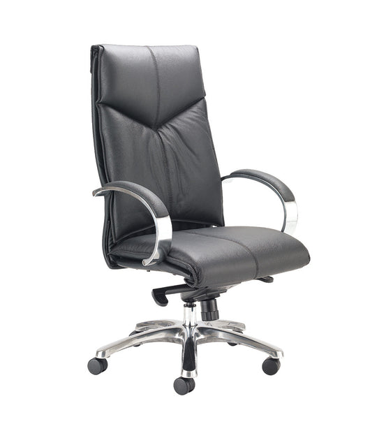 Valentino High Back Executive Chair in Black Leather