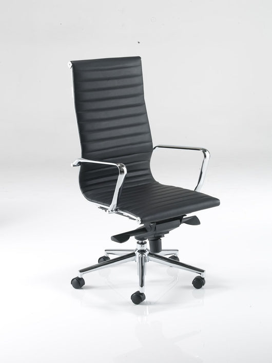 Aria AH1 High Back Classic Office Chair in Ribbed Leather with Chrome Detail